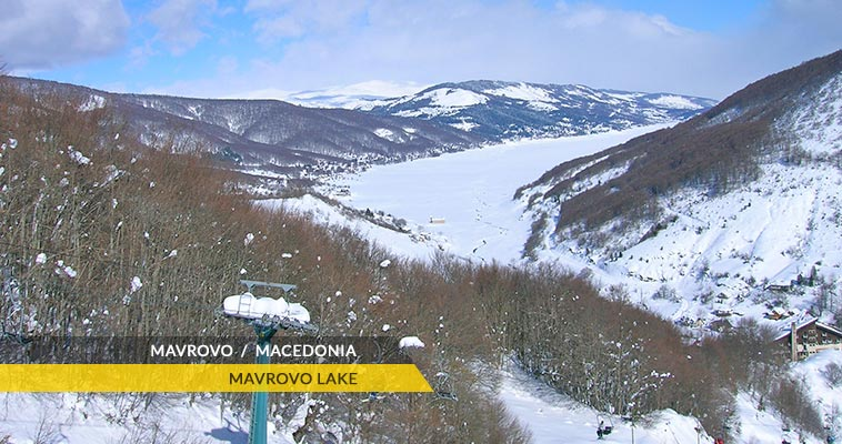 Mavrovo lake with snow cover