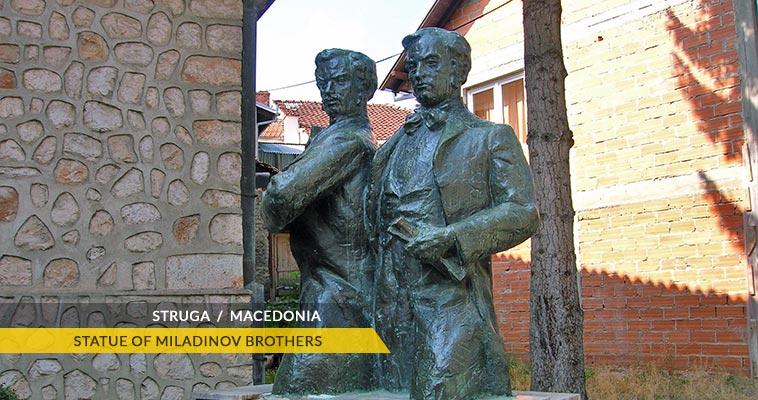 Struga: Statues of Miladinov brothers