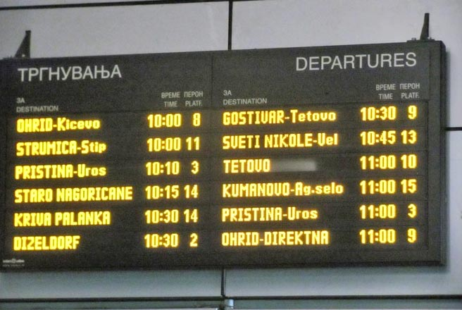 Timetable at Skopje bus station