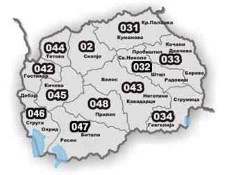 Phone area codes in Macedonia